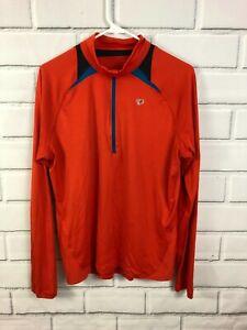 Pearl Izumi Red Cycling 1/4 Zip Shirt Long Sleeve Polyester Mens Medium