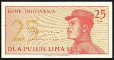 1964 INDONESIA 25 SEN BANKNOTE * CTW 028236 * EF * P-93a *
