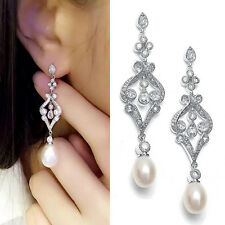 Water Drop Micro Inlay Cubic Zirconia Crystal Imitation Pearl Dangle Earrings
