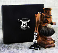 CLASSIC Wood 3 Piece Men's Shaving Set With Badger Hair & Gillette Mach 3 Razor