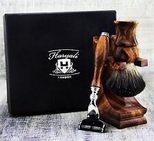 CLASSIC Wood 3 Piece Men's Shaving Set With Badger Hair & Gillette Mach 3 Razor