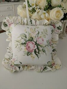 Laura Ashley throw ruffle pillow Country Rose Floral Roses cottage winter Shabby