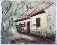 Elisabeth Schiøtt Aquarell um 1900 Alte Kate mit Bäumen Haus Dorf Dänemark