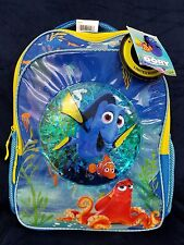 """Disney 16"""" Finding Dory Confetti Bubble Kids Backpack Blue Nemo Henry yellow"""