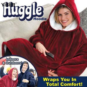 Blanket Hoodie With Hooded Ultra Plush Giant Sweatshirt Comfy Huggle Fleece Warm