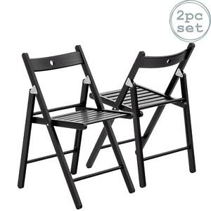Folding Chairs Wooden Wood Studying Dining Office Student Uni Chair Black x2