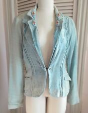 VELENI EROICI ITALIAN DISTRSSED FADED EMBELLISHED FITTED BLAZER SZ 44 USA 10 NWT