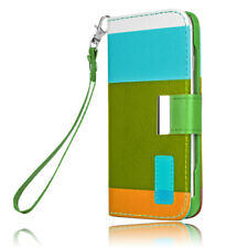 Hybrid Leather Wallet Flip Pouch Case Cover Skin For Apple iPhone 5 5G Khaki New