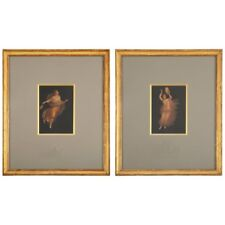 Pair of Italian Grand Tour Paintings of Maenads, after Pompeii, Signed Ambrosio
