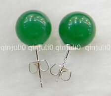 Charm 10mm Jewelry Natural Light emerald jade & Silver Stud Earrings JN41