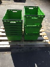 More details for 20 x lime green bail arm crates / bale arm plastic stacking storage boxes