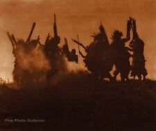 1914/90 EDWARD CURTIS American Indian Moon Ritual Dance GOLDTONE Photo Engraving