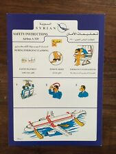 Safety Card / SYRIAN / Airbus A320 / RARE