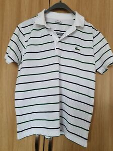 Lacoste White/green Striped Polo Shirt Size Fr 4 Uk Small