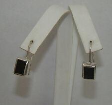 ATI Sterling Silver Rectangle Black Earrings - 6.25 Grams, # P562