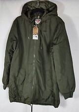 Lee Cooper Mens Long Coat Ribbed Collar Cuffs  Hooded Full Zip Top Green XL B353