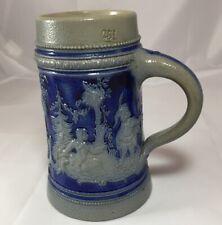 German Salt Glazed Beer Stein Mug Vintage