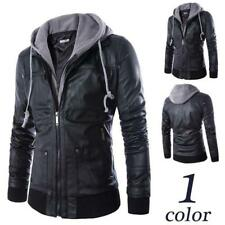Mens Hooded Jacket Slim Fit Sports Zipper Jacket Detachable Outwear T3