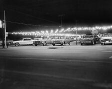1965 Pontiac Dealership used car lot at Night  8 x 10 Photograph