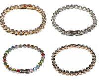 Damen Tennis Armband Silber Gold Zirkonia Ketten Partner Modisch Trend Statement