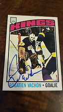 1976-77 OPC SIGNED CARD ROGIE VACHON KINGS CANADIENS RED WINGS BRUINS HOF # 40