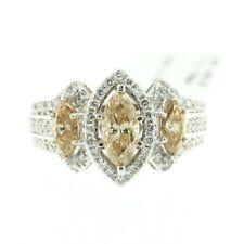 Womens 14k White Gold Genuine Round Cut Diamond Ladys Wedding Engagement Ring