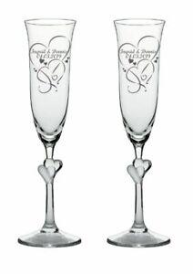 Sekt-Champagner-Gläser Sektkelch 2er Set mit Herz im Stil persönlich graviert
