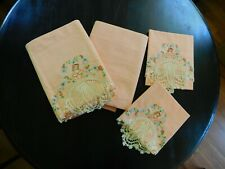 Vintage Sheet & Pillowcase Set - Embroidered & Crocheted Lady by Pepperell
