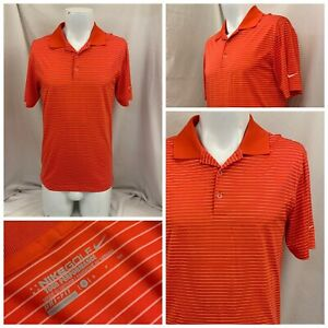 Nike Golf Shirt S Orange Stripe 100% Polyester Polo Short Sleeve YGI W1-9