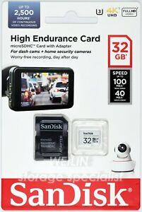 SanDisk High Endurance 32GB microSD card Class10 Dash Cam Surveillance Security