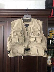 Rio Bravo Fishing Vest Zip Mens L Hiking Photography Khaki 23 Pockets Convert.
