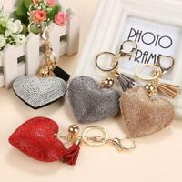 Fashion Bling Heart-shaped Rhinestone Tassel Keychain Bag Pendant Key Ring Gifts