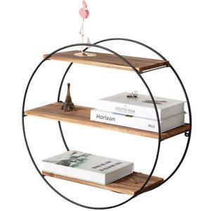 Rustic 3 Tier Geometric Round Floating Shelves Wall Shelf For Livingroom Bedroom