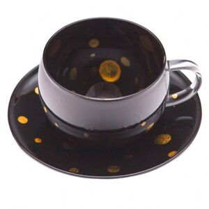 "AGJ Glass urushi Cup and Saucer 2set ""Balloon"" Gold Dinnerware Urushi Japanese"