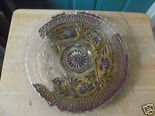 Vintage Red and Gold Pedestal Floral Goofus Glass Platter