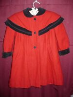 Rothschild Red with black trim Peacoat with bow on the back Child's Jacket Sz 5