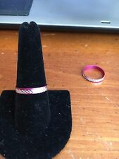 Dark Pink aluminium etched ring size 9