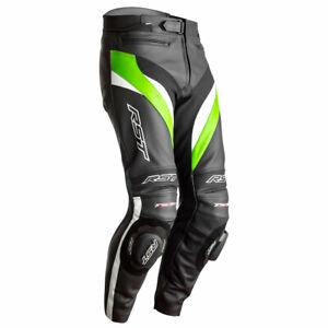 RST Tractech Evo 4 CE Motorcycle Motorbike Leather Trouser Black / Green / White
