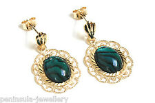 9ct Gold Abalone Paua Shell Filigree drop earrings Made in UK Gift Boxed