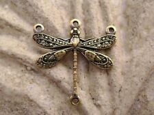 2003 Antiqued Brass Gold Stamping Dragonfly Charm 2 Qty