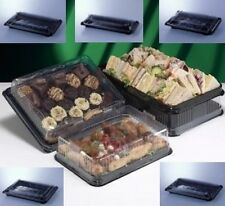 16 - Assorted Black Rectangular Plastic Sandwich / Food Platters with Clear Lids