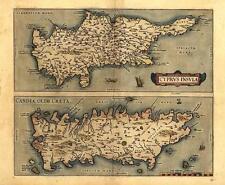Grande A1 Misura Abraham Ortelius Cipro & Creta Antico Mappa 2 Mappe su 1 Sheet