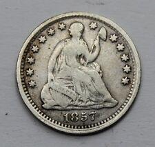 USA SEATED LIBERTY 1857 HALF DIME SILVER COIN VF