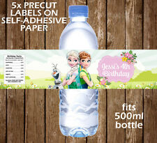 Personalised Frozen Fever Water Bottle Labels Birthday Children Party Favour