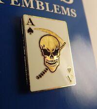 """BRAND NEW Lapel Pin Skull Ace Of Spade Death Skull White Enamel 7/8"""""""