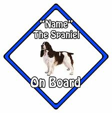 Personalised Dog On Board Car Safety Sign - Springer Spaniel On Board Blue
