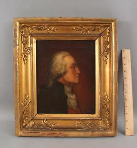 Signed Antique 1824 Oil Painting President George Washington in Orig Gilt Frame