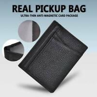 Black Real Leather Men's Mini Id Credit Card Wallet Holder Slim Pocket Case