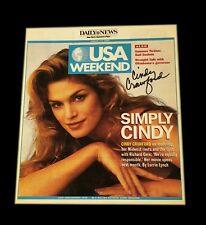 Cindy Crawford Hand Signierte USA Wochenende Zeitung Artikel mit COA