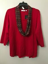 NWT Kim Rogers Women's Plus 3X Hot Red Cowl Neck Sparkle Chevron Scarf + Sweater